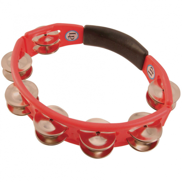 LP Cyclops Jingle Tambourine, Steel/Red/Hand Held